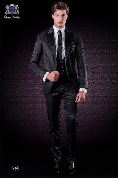 Italian wedding suit with slim stylish cut black, with peak lapel and single patterned button closure.