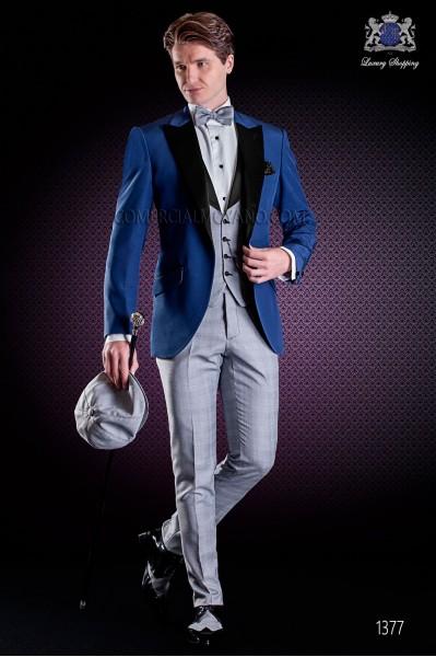 """Traje italiano con moderno estilo """"Slim"""" Americana azul y pantalón en diseño Príncipe de Gales"""