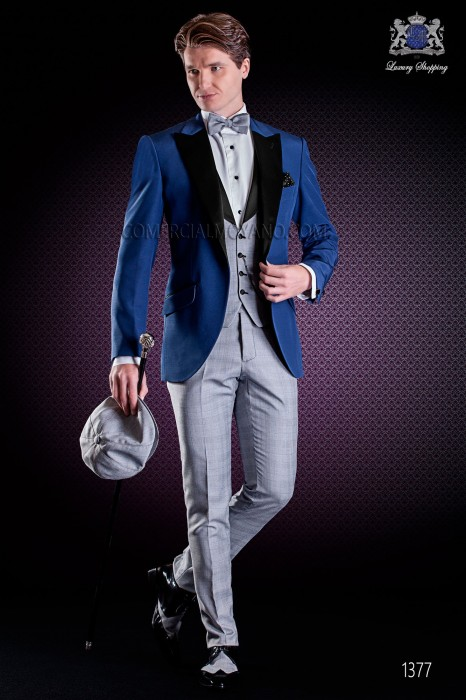 Italian wedding suit with Slim stylish cut. Formal jacket in blue and pants made from Prince of Wales fabric