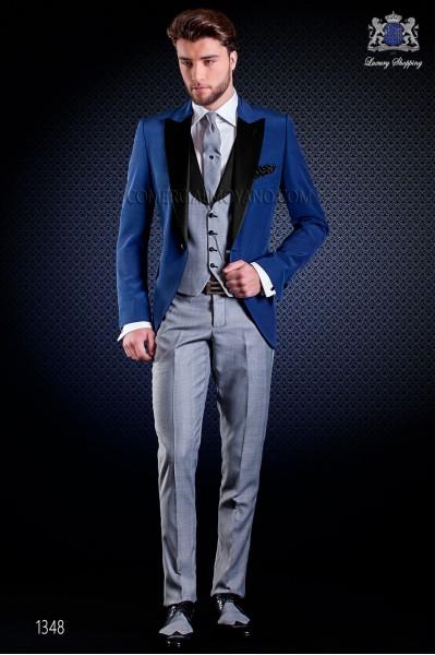 """Traje italiano con moderno estilo """"Slim"""". Americana en azul y diseño Príncipe de Gales en el pantalón"""