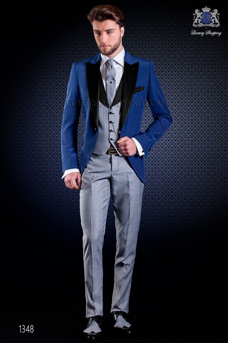 Italian wedding suit with Slim stylish cut. Formal jacket made from blue and trousers made from Prince of Wales fabric