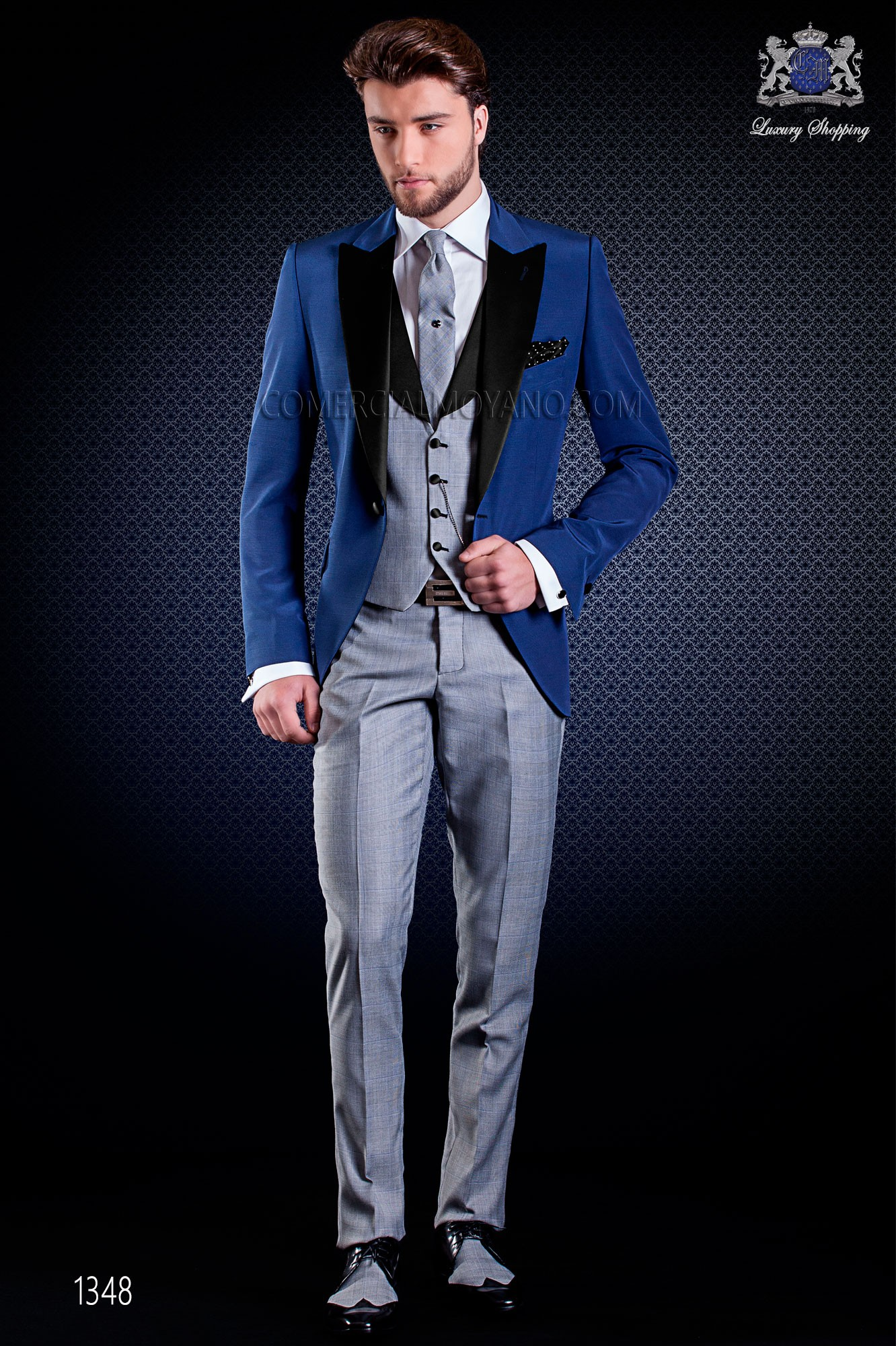 Italian fashion wedding suits in blue, Wales, Ottavio Nuccio Gala