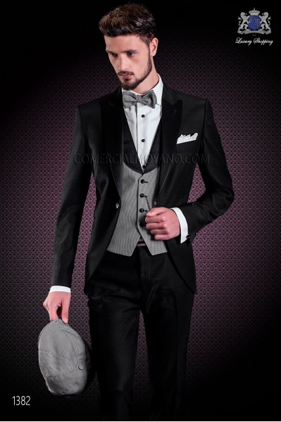 Italian wedding suit with slim stylish cut. Wool and acetate fabric in black.