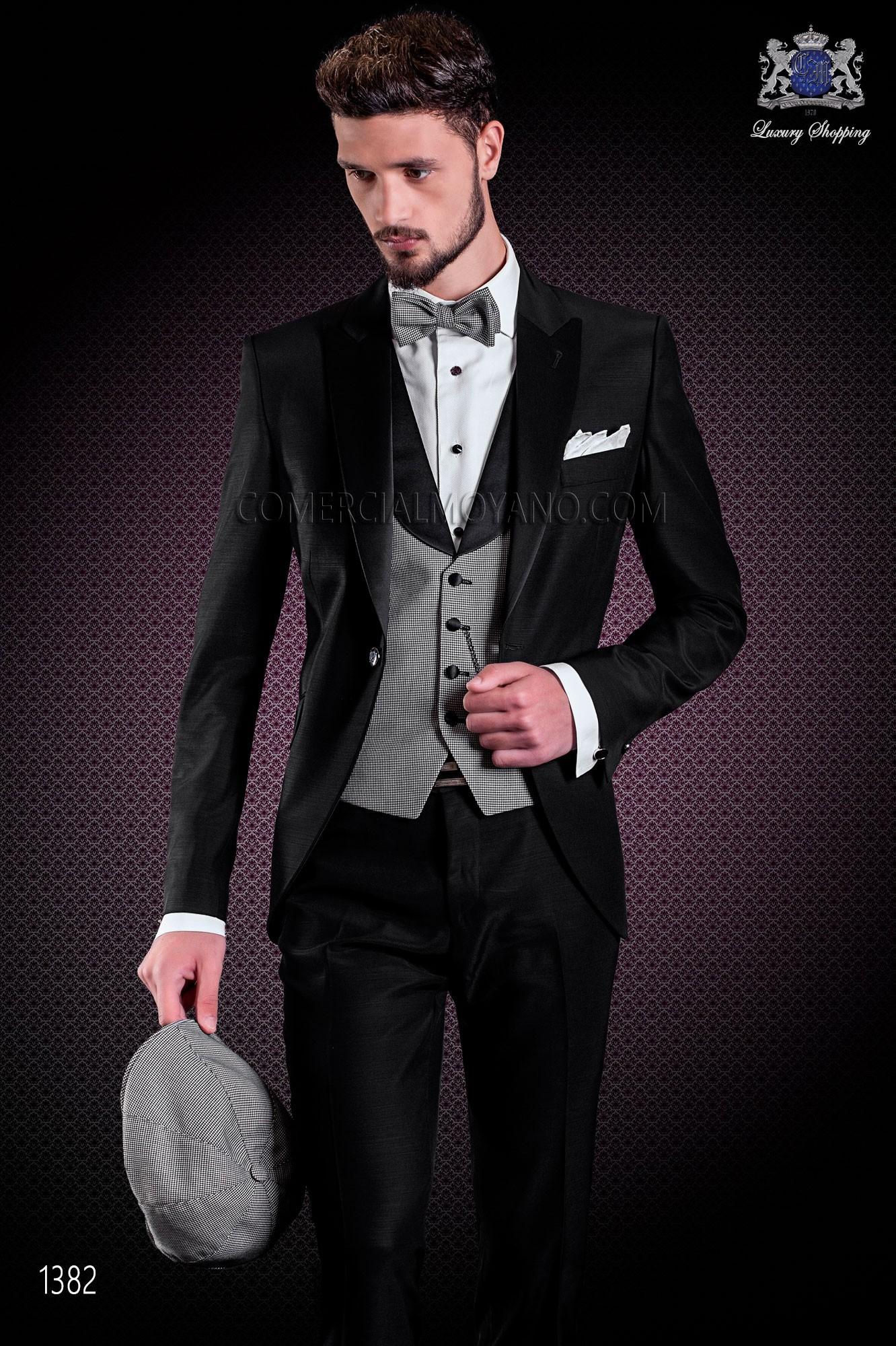 italienischer hochzeitsanzug aus acetat wolle schwarz on gala. Black Bedroom Furniture Sets. Home Design Ideas