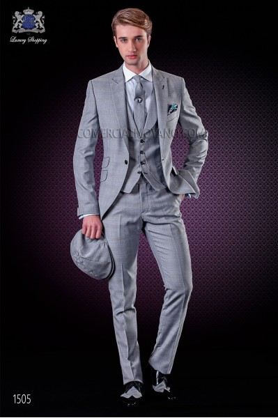 Italian wedding suit with slim stylish cut, made from Prince of Wales grey wool and polyester canvas