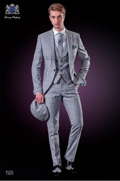 Veste de costume de coupe élégante Slim, à carreaux Prince de Galles. Revers en pointe et un seul bouton