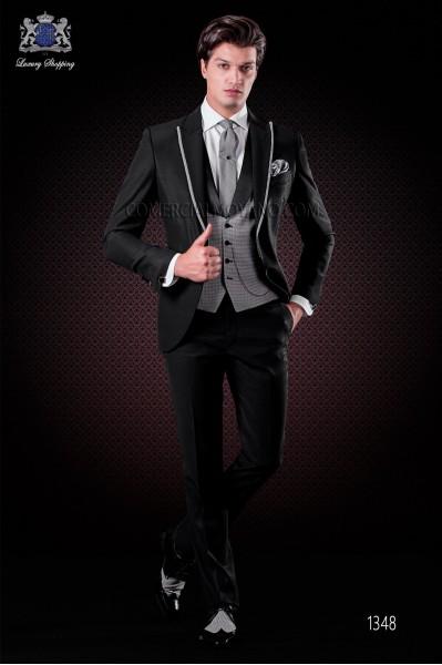 "Traje italiano con moderno estilo ""Slim"" de solapa punta con vivos y 1 botón. Tejido mezcla de lana negro"