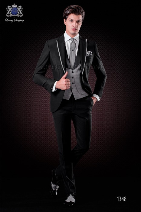 Italian short-tailed wedding suit with slim stylish cut, made from acetate and wool blend in black