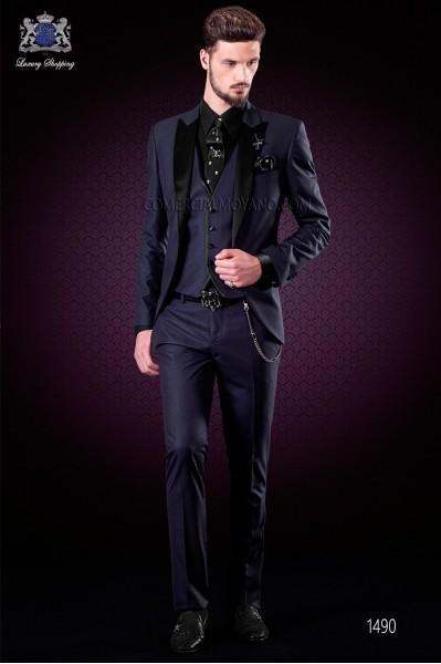 "Traje de novio italiano de moda con moderno corte ""Slim"". Modelo solapa punta con un botón, estilo esmoquin."