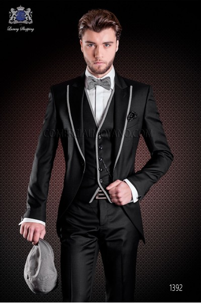 Italian short-tailed wedding suit with slim stylish cut, made from wool sateen woven in black
