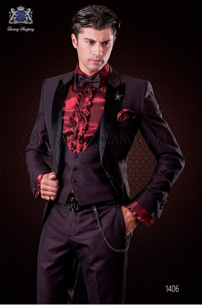 "Italian costume with modern fashion boyfriend cut ""Slim"". Model with a button flap tip tuxedo style."
