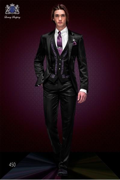 "Conjunto 3 piezas italiano de moda con moderno corte ""Slim"". Americana modelo de solapas en ""V"" con un botón."