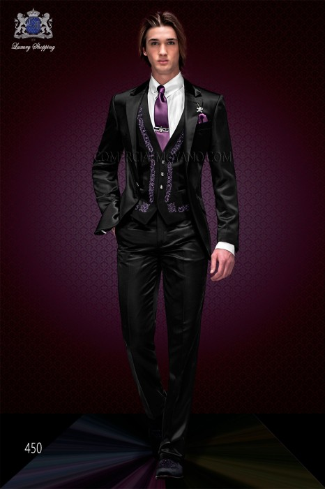 """Set 3 Italian fashion pieces with modern style """"Slim"""". American model of flaps in """"V"""" with a button."""