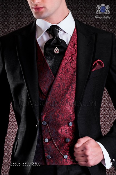 Red groom double breasted waistcoat in jacquard fabric, 6 buttons.