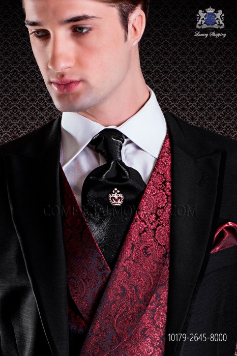 Black ascot tie in plain lurex fabric
