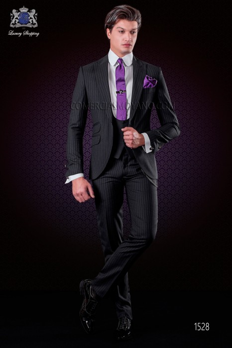 """Italian fashion outfit with modern cut """"Slim"""". Model edge flap of a button. Pinstriped fabric."""