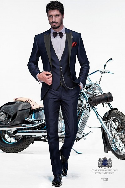 Italian blue fashion vested suit 1100 Ottavio Nuccio Gala