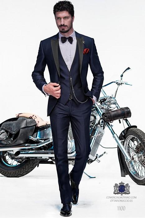 Italian bespoke blue fashion suit with waistcoat style 1100.