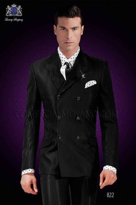 "Italian fashion outfit with modern cut ""Slim"". Cross pattern with peak lapel and 6 buttons."