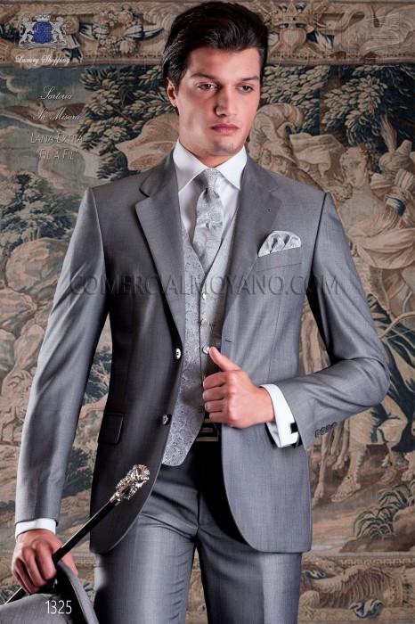 Elegant gray groom suit Italian slim cut Ottavio Nuccio Gala