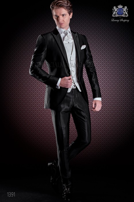 Black italian men wedding suit slim stylish cut