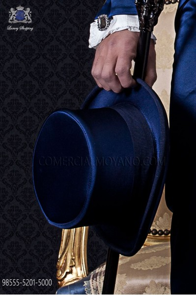 Blue satin top hat