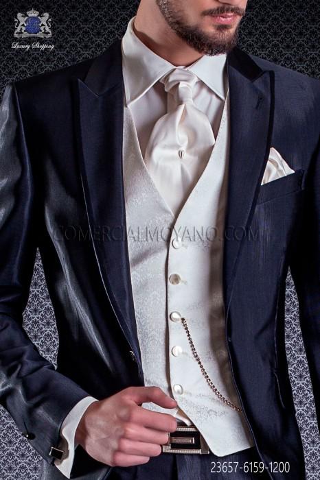 Ivory groom waistcoat in pure silk jacquard fabric