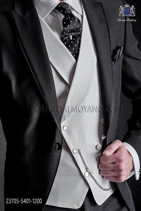 Ivory groom asymmetric double-breasted waistcoat with shawl collar