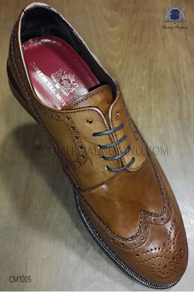 Derby wingtips full brogue brandy