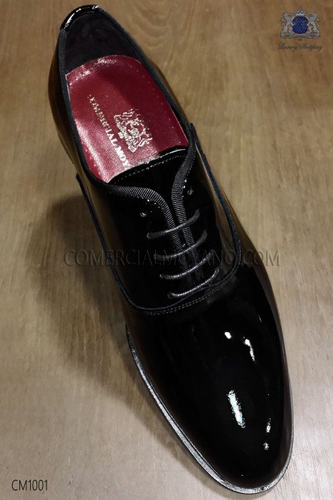 Black patent leather Francesina groom shoes