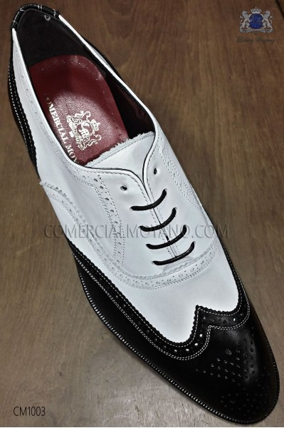 "Black and white leather ""Golf"" men shoes"