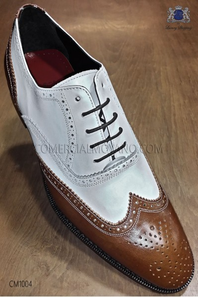 """White and honey leather """"Golf"""" men shoes"""