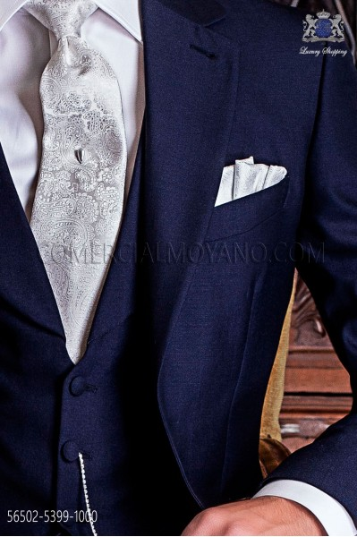 Cashmere white design groom tie with matching handkerchie