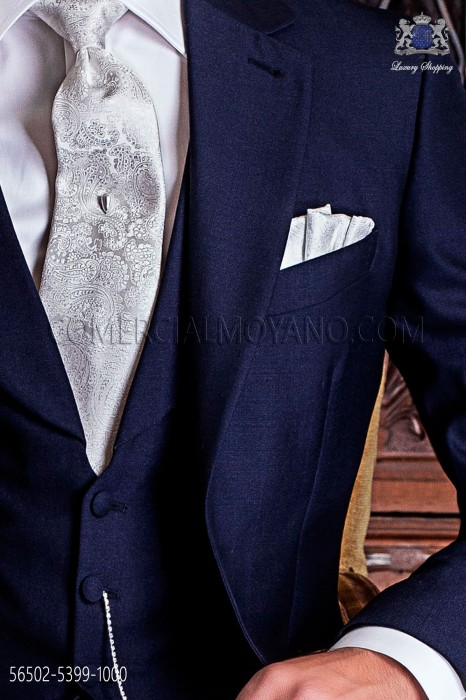 Cashmere white design groom tie with matching handkerchie