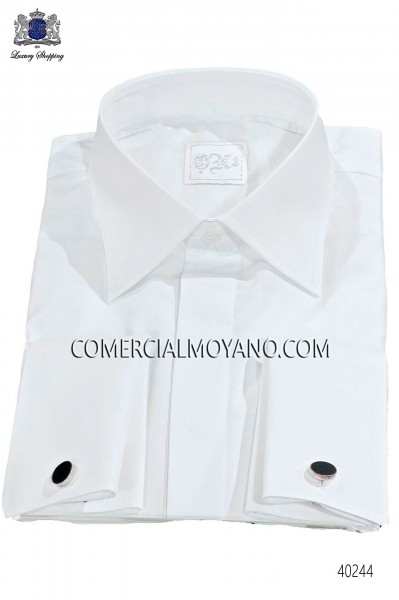 White groom shirt cotton satin blend