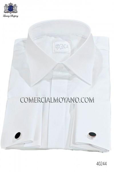 Camisa en algodón mixto satin blanco