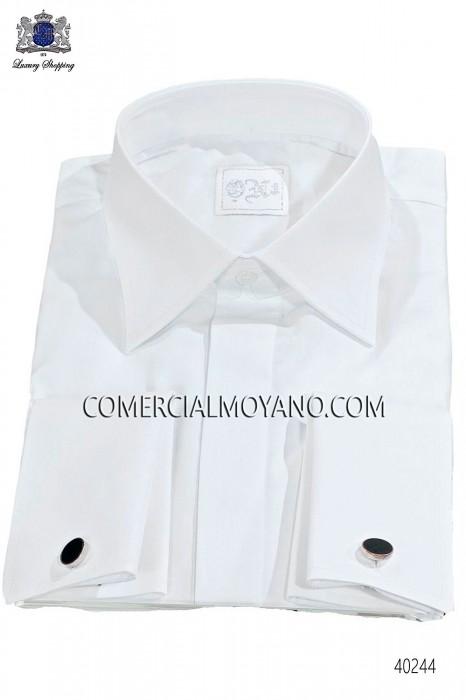 White groom shirt cotton satin blend