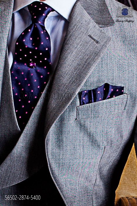 Navy blue tie and handkerchief with pink polka dots