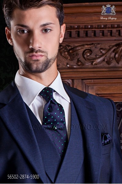 Navy blue tie and handkerchief with green polka dots