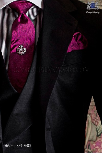 Violet groom tie and handkerchief set in pure jacquard silk