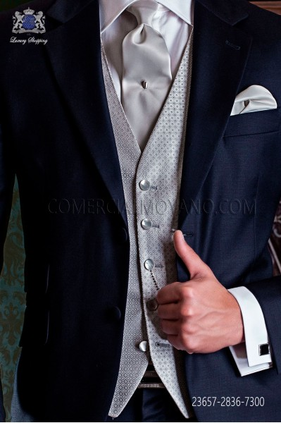 Chaleco de novio en pura seda plata falso liso 5 botones