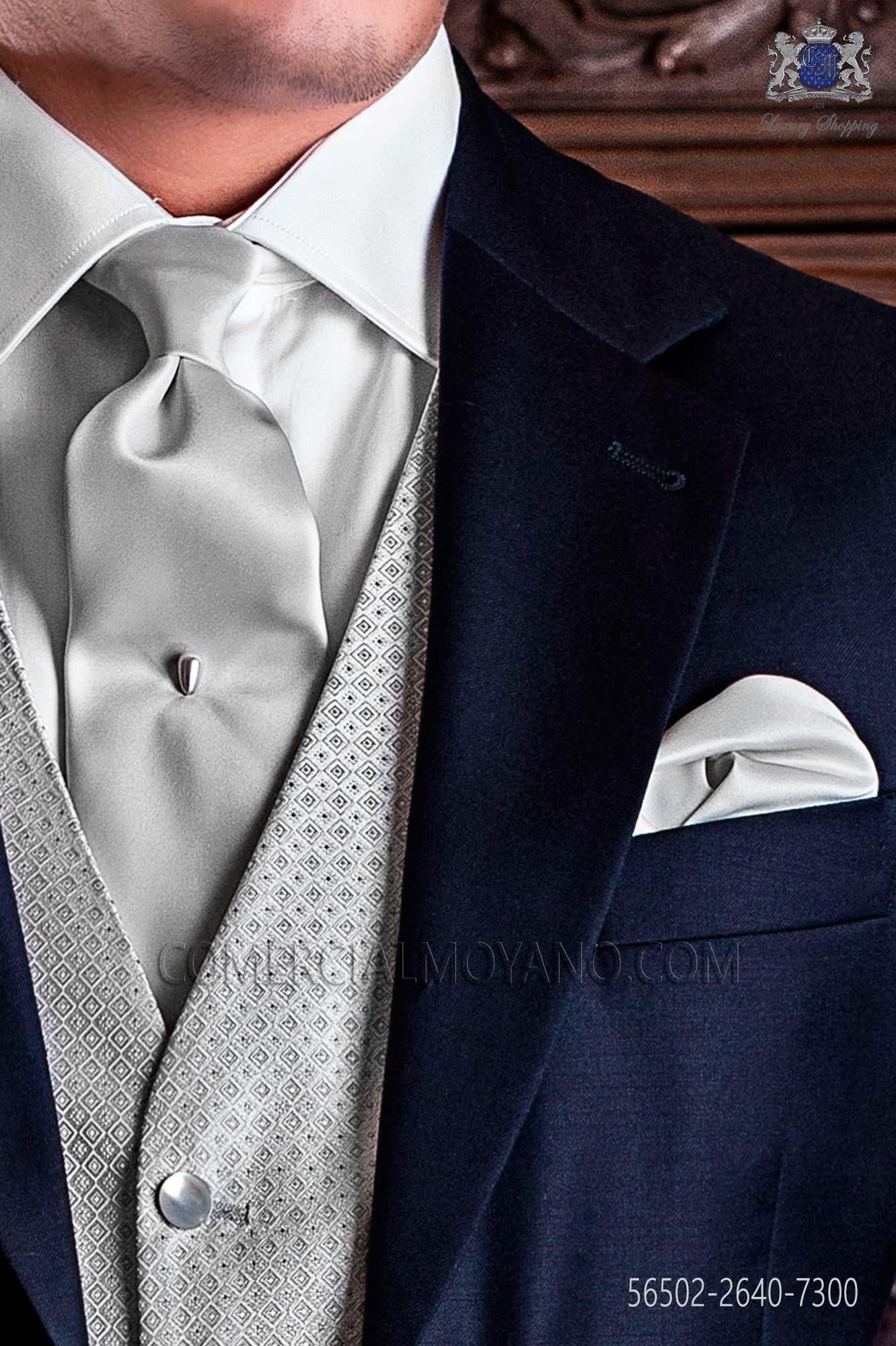 Últimas tendencias oficial precio baratas Corbata y pañuelo gris perla de raso