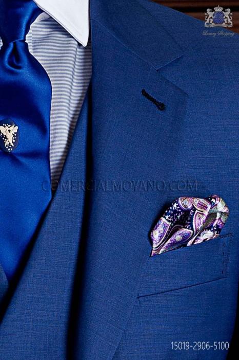 Silk pocket handkerchief blue cashmere