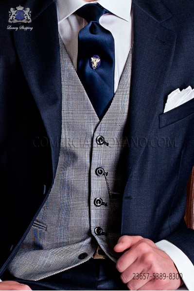 Prince of wales gray blue groom waistcoat 5 buttons