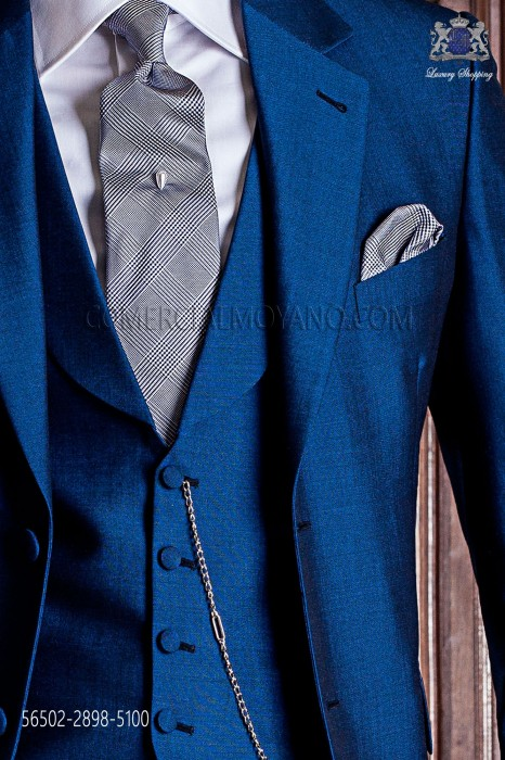 Tie with handkerchief prince of wales gray silk with blue