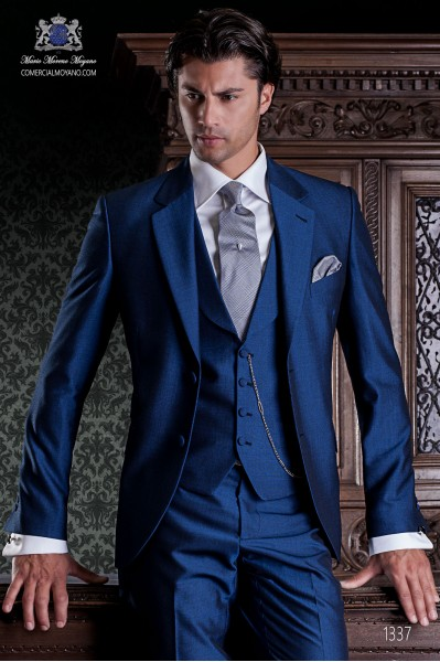 "Italian tailoring suit 2-piece, with elegant cut ""Slim"". Blue alpaca wool fabric."