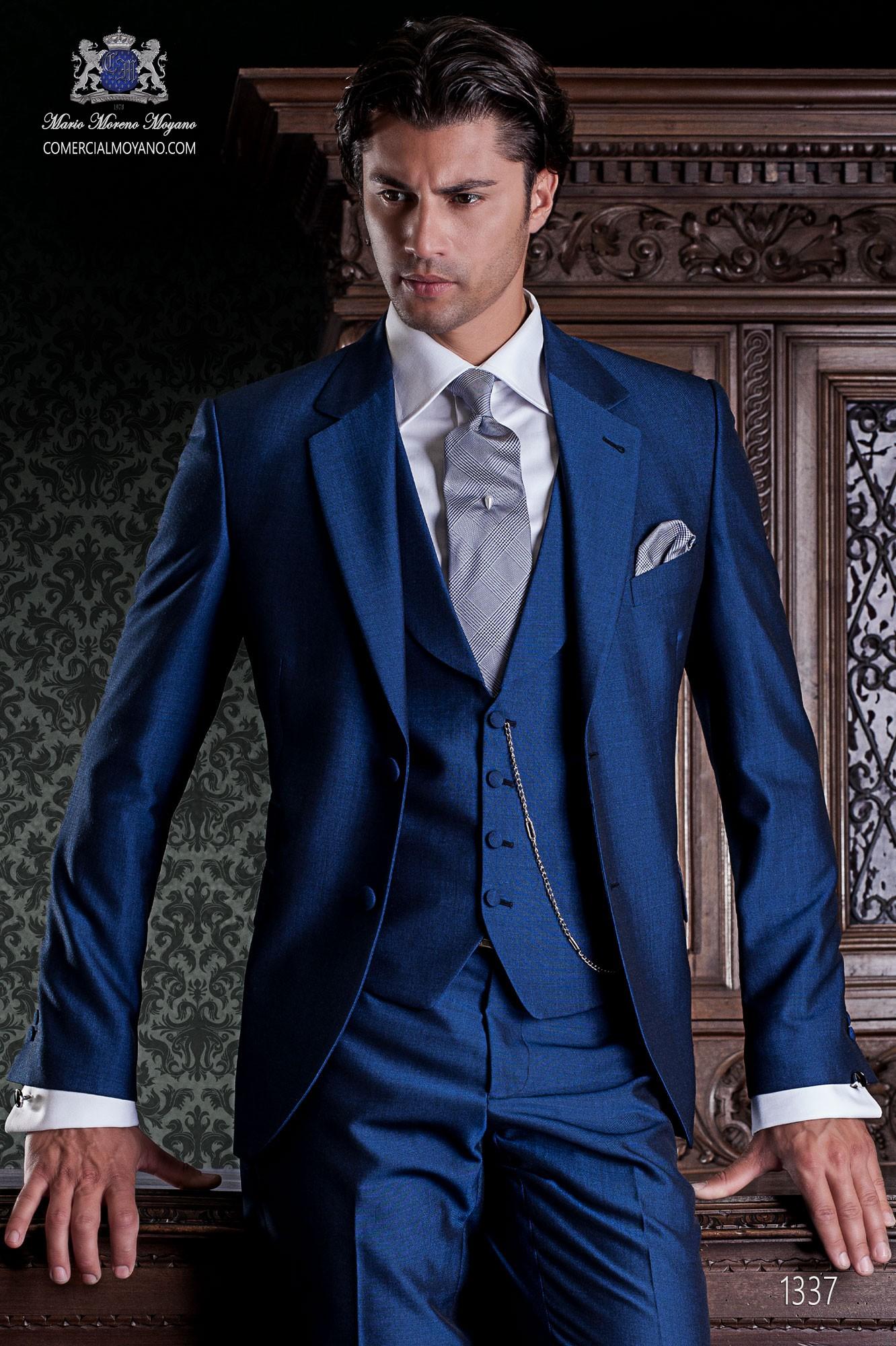 Traje de novio azul elegante de corte italiano Ottavio Nuccio 1337 cd931ea1242