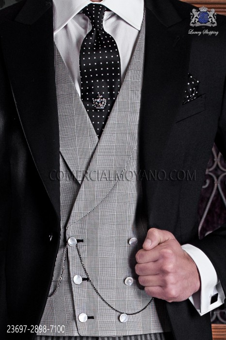Gray double-breasted waistcoat prince of wales in pure silk fabric 23697-2898-7100 Ottavio Nuccio Gala