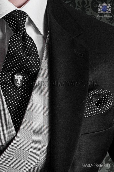 Black with white polka dots tie and handkerchief