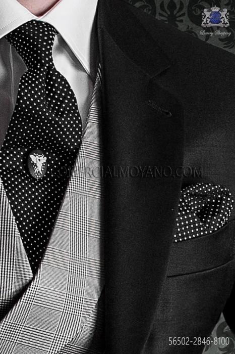 Black with white polka dots tie and handkerchief 56502-2846-8100 Ottavio Nuccio Gala